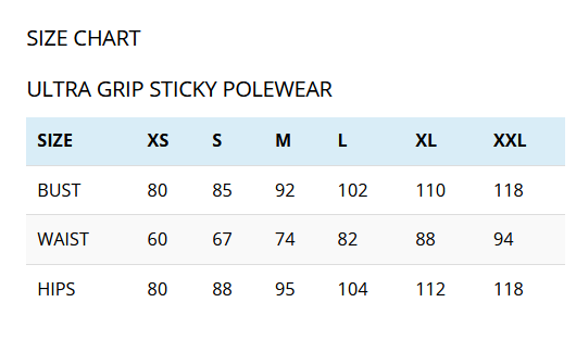 Ultra Grip Pole Wear Size Chart